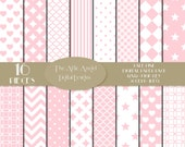 SALE - Pink Baby Digital Paper, Girl Pink, New Baby, Pink Polka Dot, Chevron, Hearts, Stars, Baby Shower, Commercial Use CU, Download