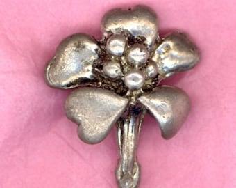 Pretty Cast Silvertone Metal ..Flower