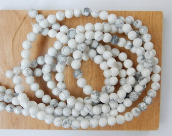 6mm  Howlite round beads , FULL STRAND