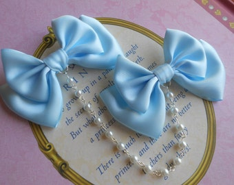 Sweet Lolita Hair clips blue bows with white pearl beads fairy kei