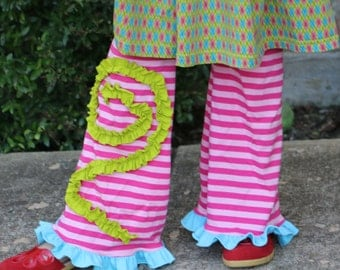 pink stripe yoga pants with turquoise and green ruffle details sizes 12m to 14 girls