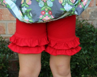 red ruffle shorts with double ruffles sizes 12m - 14 girls