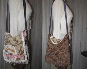 Handmade Boho Bag, upholstery chenille fabric tapestry bag, earth tone bohemian shoulder bag