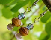 Earrings with Maine Birch Bark Bead and Glass Bead Accents/ Native American Made