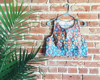 Aztec crop top / Watercolor crop top / multicolor top / bright top