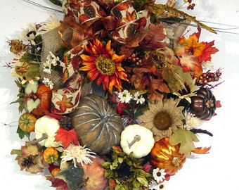 Fall Wreath Country Pumpkin Autumn Harvest Thanksgiving door silk floral wall arrangement STUNNING design by Cabin Cove Creations