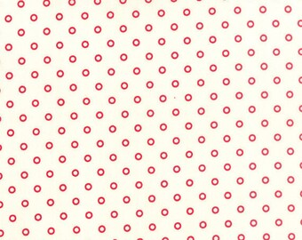 ONE HALF YARD Lollies in Cream and Red Hello Darling by Bonnie and Camille for Moda