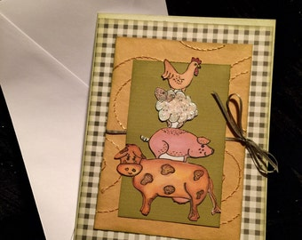 card farm animals all occation card handmade
