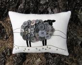 Ireland Black Sheep PILLOW, St. Patricks Day Decor, Primitive Embroidery, Irish Sheep, Unique Original Design, Vintage Gray Buttons