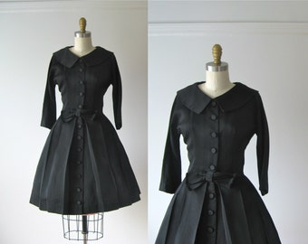 SALE vintage 1950s dress / 50s dress / Buttons and Bows