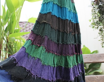 ARIEL on Earth - Boho Gypsy Long Tiered Ruffle Patchwork Cotton Skirt - BD1507-5