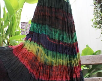 ARIEL on Earth - Boho Gypsy Long Tiered Ruffle Patchwork Tie Dyed Cotton Skirt - TD1507-1