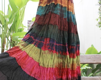 ARIEL on Earth - Boho Gypsy Long Tiered Ruffle Patchwork Tie Dyed Cotton Skirt - TD1507-4