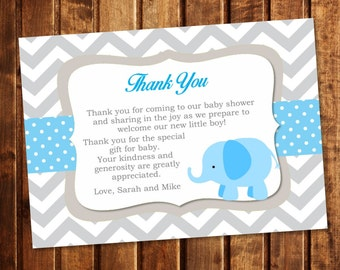 Blue Elephant and Chevron Personalized Thank You Note - You Print