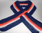Denver Bronco Colors  Keyhole Scarf  Makes a great Gift for him Hand Crocheted by Kams-store.com