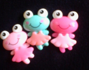 Kawaii frog friends  cabochons decoden deco diy charms   3 pcs