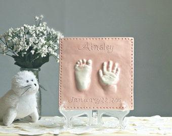 Ceramic Hand & Footprint Wall Plaque - Custom Baby and Child Keepsake - Hand Print Art - Hand Print Gift - Handprint Plaque - Baby Gift