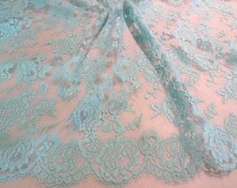 Elegant Aqua Blue Floral Design French Chantilly Lace Fabric--One Yard