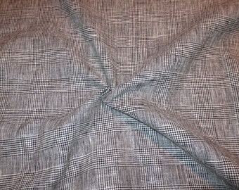 REMNANT--Black and White Plaid Linen and Cotton Fabric with Metallic Silver--2 YardS