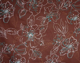 REMNANT--Chocolate Brown with Turquoise Sketchy Floral Print Stretch Cotton Sateen Fabric--22 INCHES