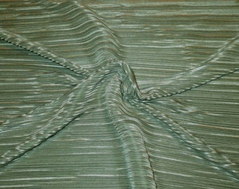 REMNANT--Moss Green Finely Pleated Polyester Charmeuse Fabric--One Yard