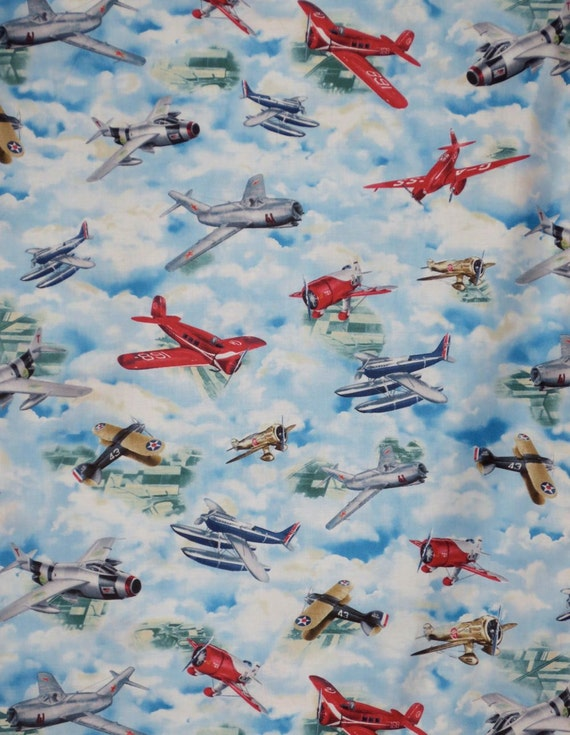 Colorful vintage airplane print pure cotton fabric by the for Airplane fabric by the yard