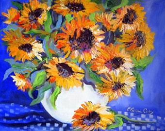 Sunflower Still life original painting 16 x 20 canvas art by Elaine Cory