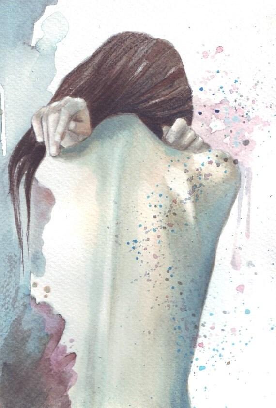 H032 Original watercolor portrait painting art Woman back by