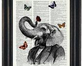 BOGO Sale Elephant With Butteflies Art Print with A HHP Original with HHP Signature Butterflies Wall Decor Dictionary Print Dictionary Print