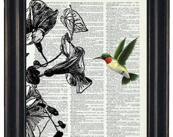 BOGO SALE Hummingbird Print Dictionary Art Print Bird Dictionary Art Print Flower Art Upcycled Wall Art Vintage Dictionary A HHP Original