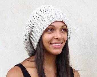 Crochet Slouchy Hat, Tam, Hippie, Women, Men, Teen, Tam, Color Linen