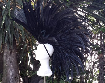 Black Feather Mohawk- Burning Man, Wasteland Weekend, Mad max, Costume,