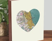 Chicago Map Art - Chicago Map Print - Chicago Artwork - Heart Map