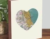 Chicago Map Art - Chicago Map Print - Chicago Artwork - Heart Map