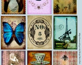 Victorian Collage Sheet, Paris ATC Backgrounds, Eiffel Tower, Butterfly, Stacked Tea Cups, Instant Download