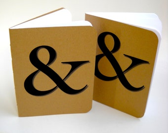Two Ampersand Softcover Notebooks, Two Kraft Notebooks, Typography Notebooks, Handmade Notebooks