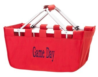SHIPS NEXT DAY---Monogrammed Large Red Market Tote Basket  ---Free Monogramming---Great For Wedding Gifts---