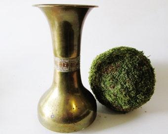 Vintage Moderne Brass Vase, Hollywood Regency