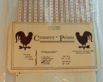 """Counted Cross Stitch 14 Count Aida Chesterfield Country Prints 15"""" x 15"""" With Oval Opening  1 piece"""