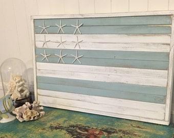 Starfish Beach House Flag Sign Wood Wall Art Home Decor by CastawaysHall
