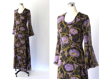 1970s Floral Cotton Maxi Dress with Bell Sleeves // 70s Vintage Black & Purple Flower Print Dress // XS - Small
