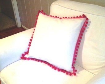 White Cotton Pillow Cover with Pink Magenta Pom Poms