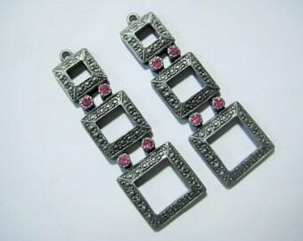 Vintage Pendants/Drops/Earring Dangles, 1980s Art Deco Revival Triple Open Squares w/Pink Rhinestones, Antique Silver, 50x17mm, 2 pcs.