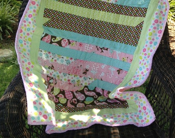 REDUCED Baby Quilt, Lap Quilt, Wall hanging, Bedding, Nursery, Child's Quilt, Crip Quilt, Flannel Quilt