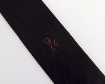 Vintage 50's 60's Skinny Tie Necktie Black with Brown Embroidered Flourish Design Rockabilly