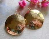Large 1 Inch Gold Filled Forged and Hammered Circle Disc Earrings, Bright Sun Earrings
