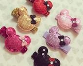 Minnie Mouse Bow Hair Clips: Set of 6 Sequin Mouse Ear Hair Bows on Alligator Clips + Birthday Favor Hair Clips