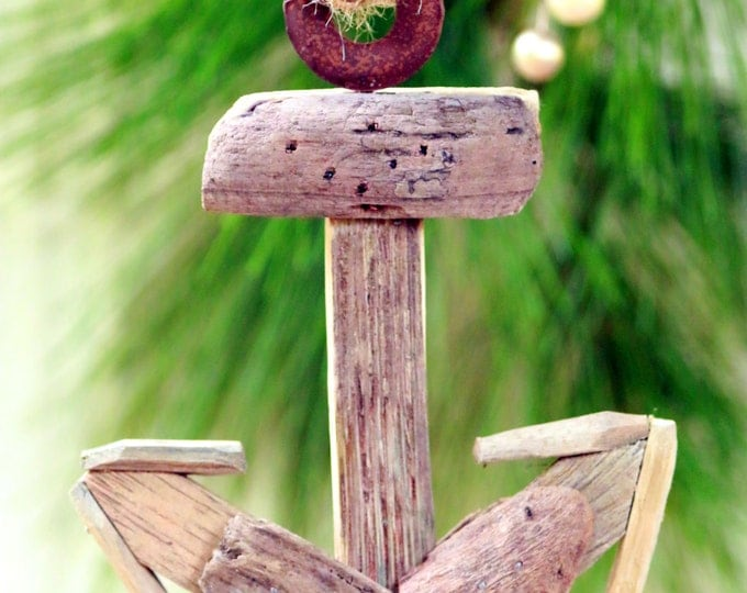 Anchor Ornament, Rustic Boat Anchor, Ship Anchor, Beach Christmas Ornament, Masculine Xmas Tree, Rustic Tree Decor, Pine Tree Decoration,