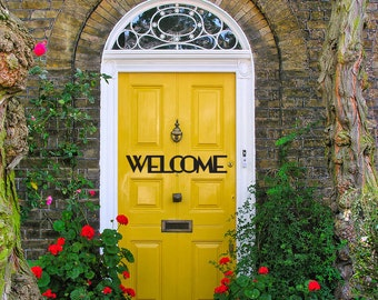 Gold welcome front door decal sticker in an art deco style