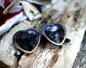 Ombre Heart Wood Veneer Sunglasses